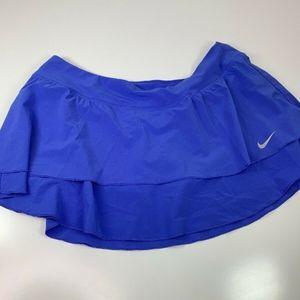 Nike solid Blue Dri-Fit ruffled tennis skort L